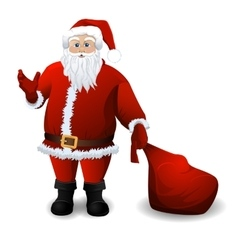 Santa Claus with red sack over white vector image
