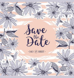 save the date lettering wedding card floral frame vector image vector image