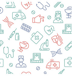 Seamless pattern with medical symbols vector
