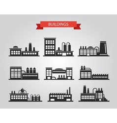 Set of flat design industrial buildings pictograms vector image vector image