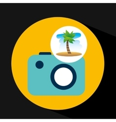 Tropical vacation beach picture camera vector