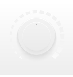 White technology music button volume knob with vector image