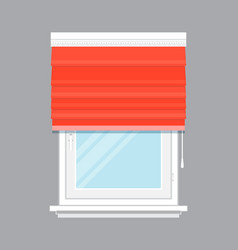 window with red roll curtain isolated vector image vector image