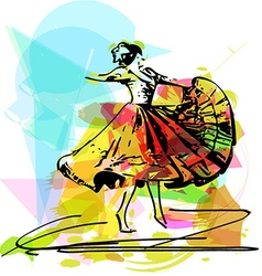woman dancing marinera vector image vector image