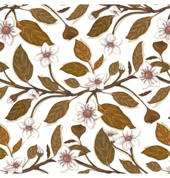 White flowers on twig seamless pattern vector