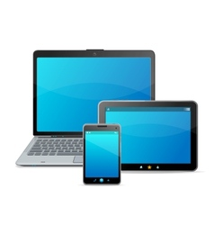 Set of blank modern mobile devices isolated on vector