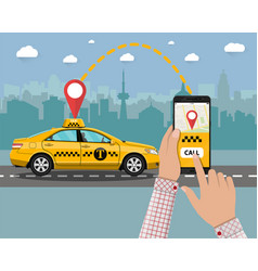 Yellow taxi cab hands smartphone application vector
