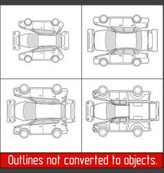 car sedan hatchback suv pickup vehicle check vector image