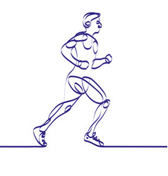 Continuous line drawing of runner -variable line- vector