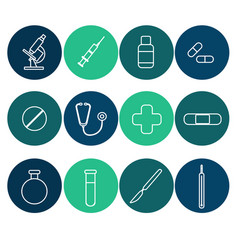 Icons for medical websites applications flat vector