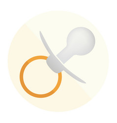 Gray pacifier icon on the round background vector