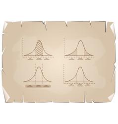 Standard deviation diagram graph on old paper back vector