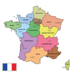 france map with regions and their capitals vector image