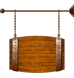 Barrel shaped wooden signboard on rusty chains vector