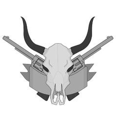 Wild west cow skull pistols ribbon logo gray vector