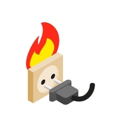 Burning socket isometric 3d icon vector