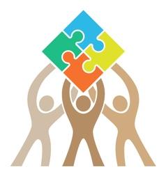 Teamwork Puzzle Logo vector image