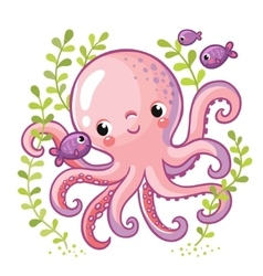 Cartoon young octopus vector
