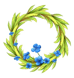 A round border with blue flowers vector image