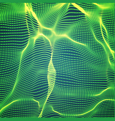 abstract green wave mesh background vector image vector image