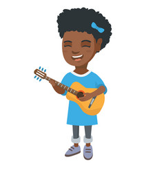 african girl singing and playing acoustic guitar vector image