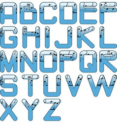 alphabet music glossy blue vector image