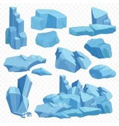 Blue bright crystals Poly mineral stone rocks vector image vector image