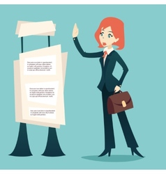 Cartoon retro vintage businesswoman caes character vector