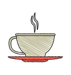 Color crayon stripe cartoon cup of coffee with vector
