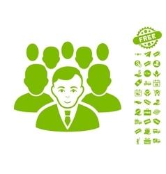 Crowd icon with free bonus vector