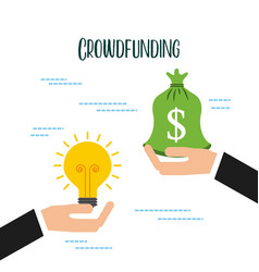 crowdfunding hand business man with bag money idea vector image vector image