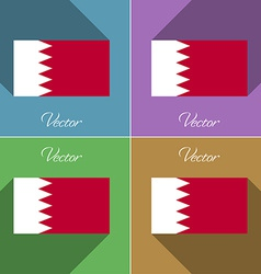 Flags Bahrain Set of colors flat design and long vector image vector image