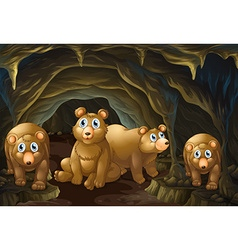 Four bears living in the cave vector image vector image