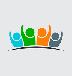 Four people holding hands group of people vector