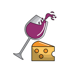 Glass wine and cheese tasty icon vector