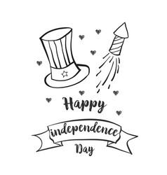 Happy independence day hand draw vector