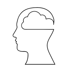 human head silhouette with cloud icon image vector image