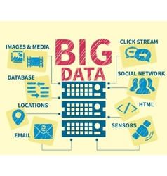 Infographic handrawn of big data vector