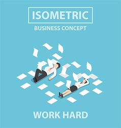 Isometric business people work hard vector