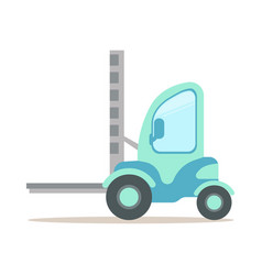 Light blue forklift truck warehouse and logistics vector