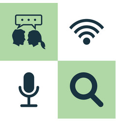 Media icons set collection of wireless connection vector