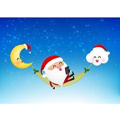 Merry santa claus cartoon holding smartphone on vector