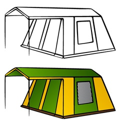 Old family camping tent vector