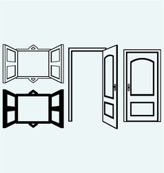 Open door and window vector image