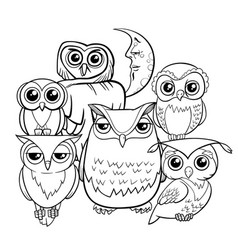 owls group cartoon characters coloring book vector image vector image