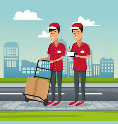 Poster city landscape with fast delivery men with vector