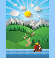 sailing boat and clouds vector image vector image