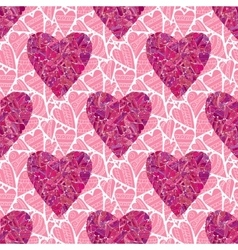 Seamless pink heart pattern vector