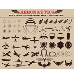 Set of aeronautics labels templates vector