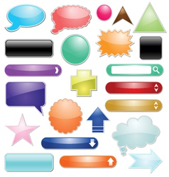 set of glossy icon for web vector image